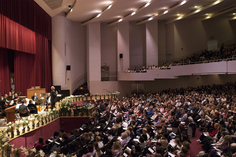 Keller preaching at Hunter Auditorium