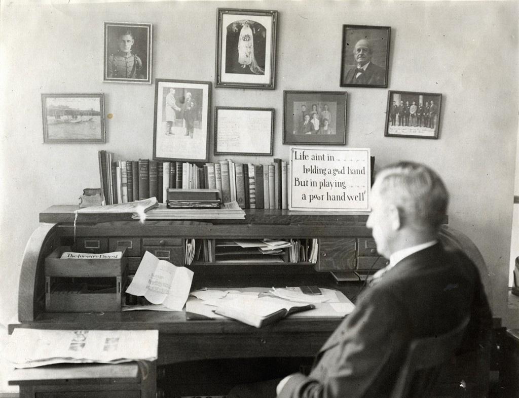 Rev. J. Frank Norris (49 years old) sitting at his desk in First Baptist Church, Fort Worth (11/02/1926), four months after he had pulled a gun from this desk to shoot a man.