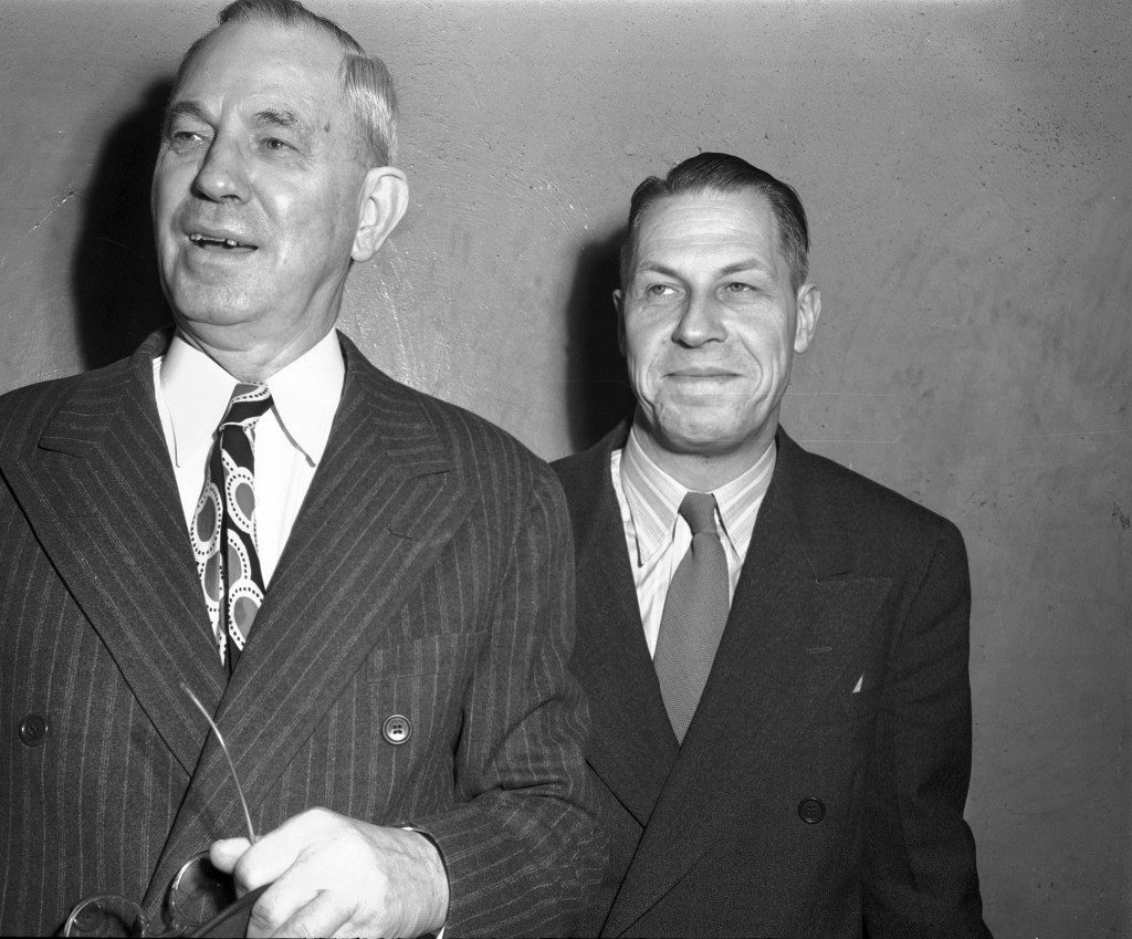 J. Frank Norris (left) and G.B. Vick (right) of World Fundamentalist Baptist Missionary Fellowship, on announcement of their interview with Pope Pius XII, 02/28/1948. UTA Libraries, accessed July 7, 2016, http://library.uta.edu/digitalgallery/items/show/11432.