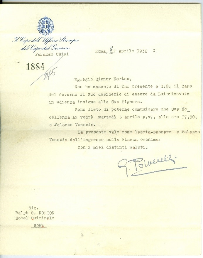 Confirmation letter for the Nortons' appointment with Mussolini (April 29, 1932). Courtesy of the Archives of the Belgian Evangelical Mission, preserved at Evadoc, Leuven (Belgium)