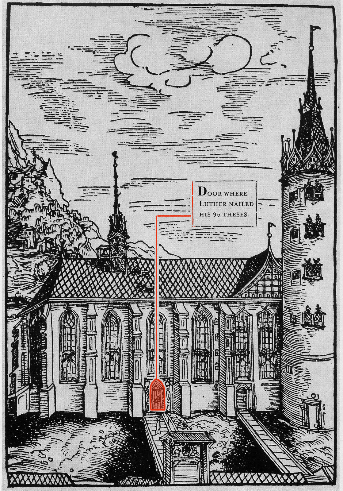 Here is what the church looks like today with the old doors superimposed over it & Looking at Wittenberg in the Time of Martin Luther