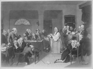 First Prayer in Congress, September 1774, in Carpenters Hall, Philadelphia, Pennsylvania. Copy of print by H. B. Hall after T. H. Matteson., 1931 - 1932.  National Archives and Records Administration, Public Domain, Wikimedia Commons.