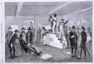 "Schomburg Center for Research in Black Culture, Photographs and Prints Division, The New York Public Library. ""A slave auction in Virginia."" The New York Public Library Digital Collections. 1861.  Public Domain."