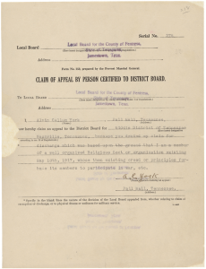 Alvin York's Conscientious Objector Claim, National Archives and Records Administration, Public Domain.