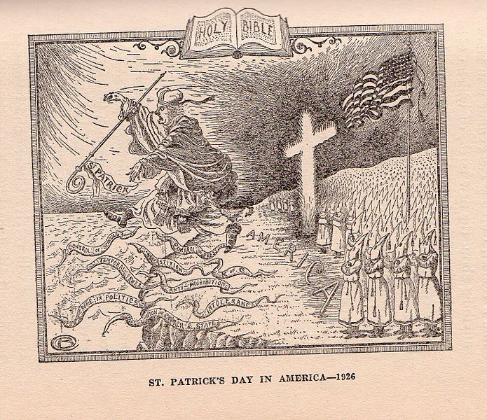 "In this cartoon, Klansmen protect America's shores from the Catholic power represented by the Irish and St. Patrick. From White, Alma ""Klansmen: Guardians of Liberty"" Zarephath, NJ: 1926 p.21. Wikimedia Commons, Public Domain."