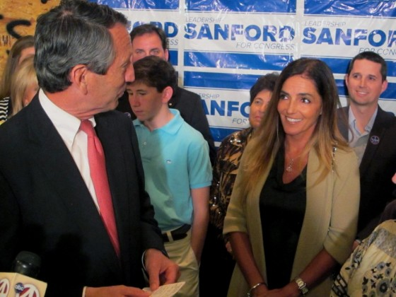 Mark Sanford's 17-year old son meets his father's mistress-turned-fiancée for the first time at this victory party following the primary.