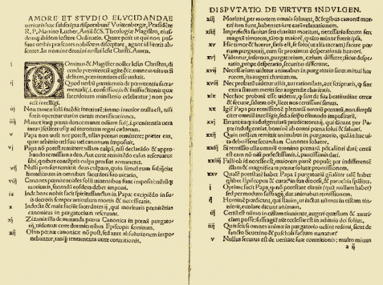 A 1522 printed copy of Luther's 95 theses.