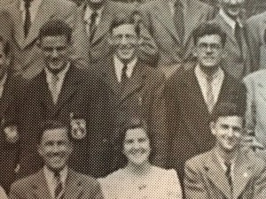 Jim Packer (top center), with members of OICCU in Trinity Term 1948 at St Ebbe's Rectory. Elizabeth Lloyd-Jones (now Lady Catherwood) is sitting in front of Packer.