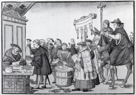 A woodcut by Jörg Breu the Elder of Augsburg (c. 1530) showing the sale of indulgences.