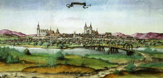 The town of Wittenberg (c. 1536), a tiny mud-cottage town in east Germany that served as the capital of Electoral Saxony.