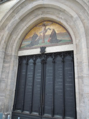The door of the Schloßkirche (castle church) in Wittenberg, Germany. The original doors were burned in a bombardment in 1760; the current doors---made of bronze and inscribed with the text of the 95 Theses in the original Latin form---were installed in 1858.