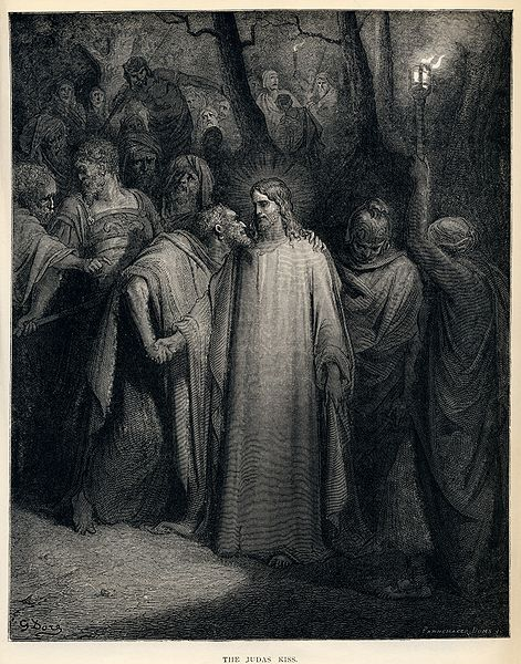 471px-Gustave_Doré_-_The_Holy_Bible_-_Plate_CXLI,_The_Judas_Kiss
