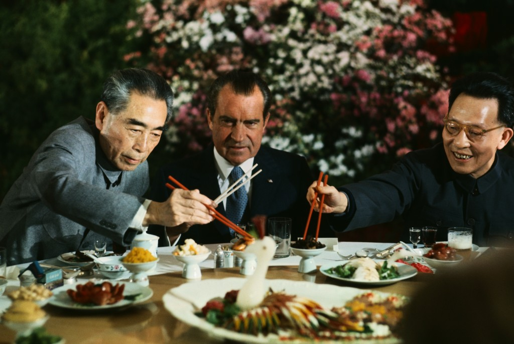 Richard Nixon Eating with Zhou Enlai and Chang Chun-chiao