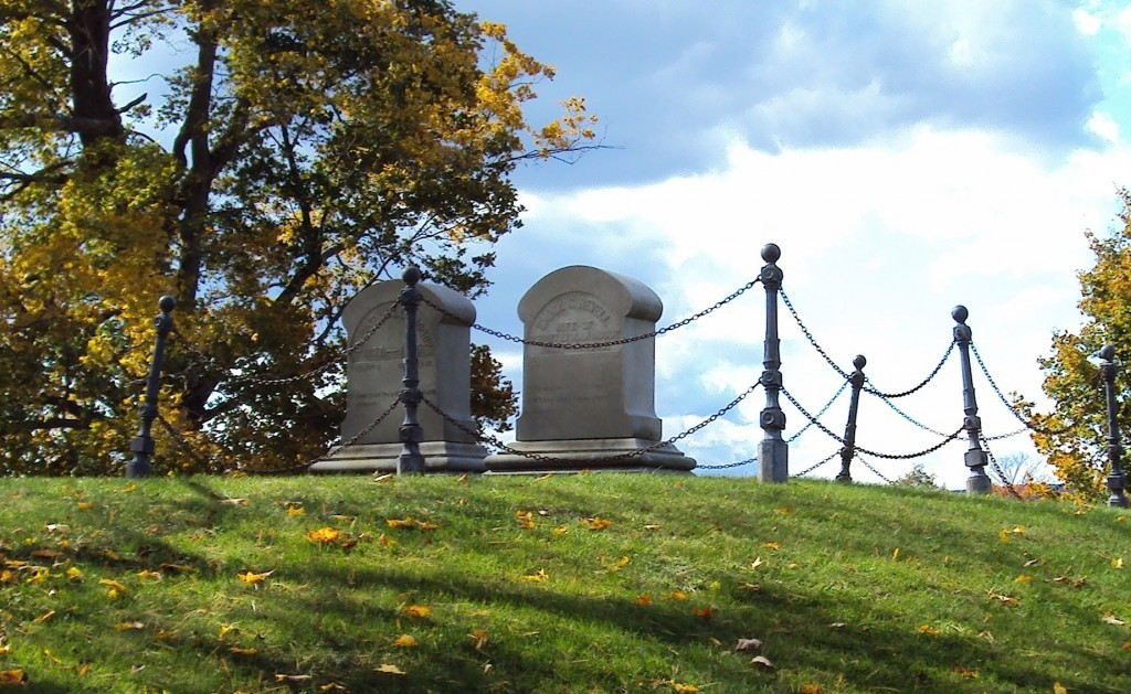 The graves of Moody and his wife Emma