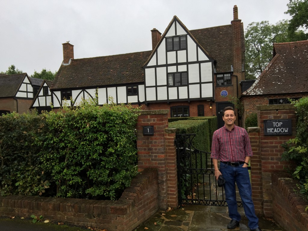 Standing outside the home of G. K. Chesterton from 1922 to 1936. A blue plaque hangs over the front door, indicating this house was Chesterton's.