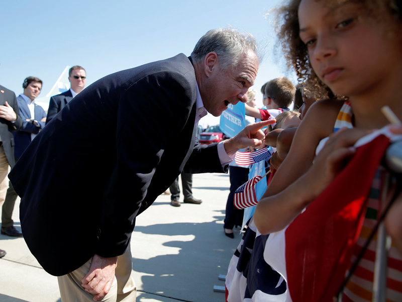 U.S. Democratic vice-presidential candidate and Senator Tim Kaine greets  well-wishers at the
