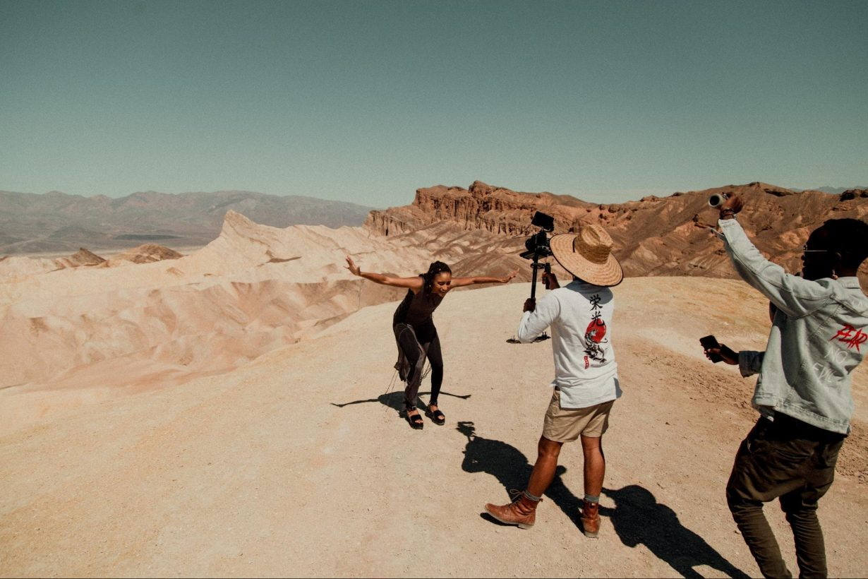 Juan Garcia and Jon Aragon film Quina Aragon in the desert.