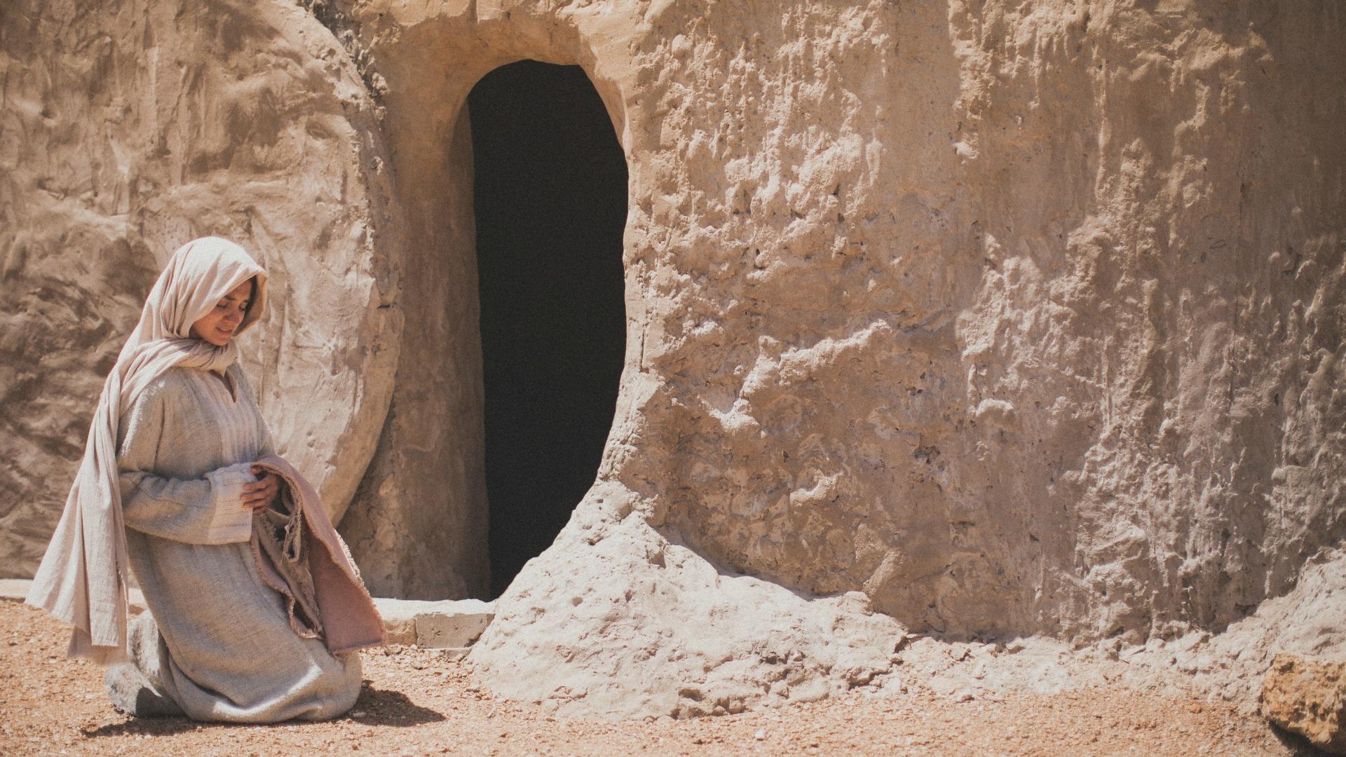 Mary at Jesus' empty tomb