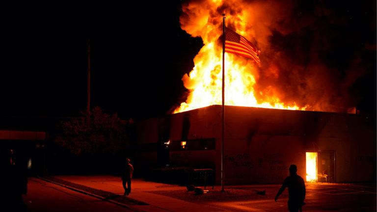 Building burning in Kenosha, Wisconsin