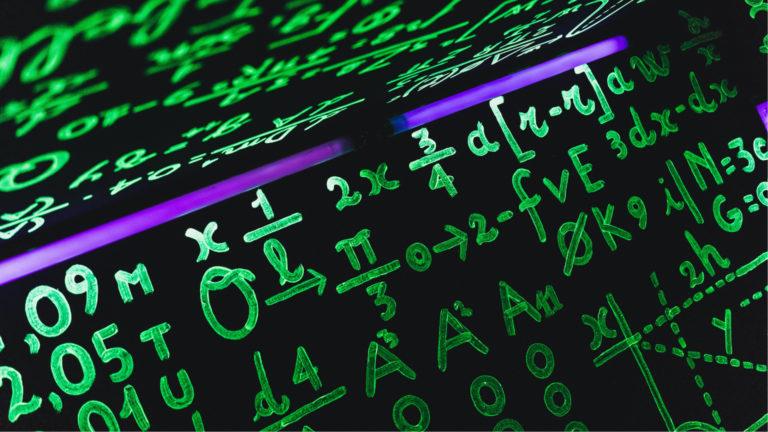 A backlit math equation