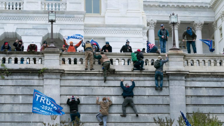 Protesters breaching US Capital building