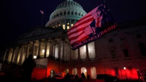 US Capital at dark after protesters breech the building on Dec. 6 2021