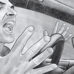 Illustration of an angry man yelling in his car