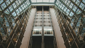 Elevators in a glass building