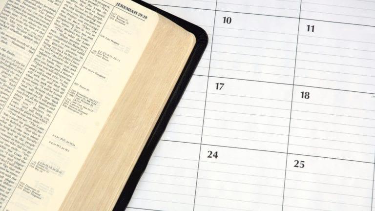 Bible and calendar