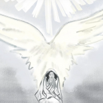 Weakness hand drawn image - women with wings and light