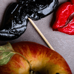 only human - temptation image of apple, moustache and lips sweets