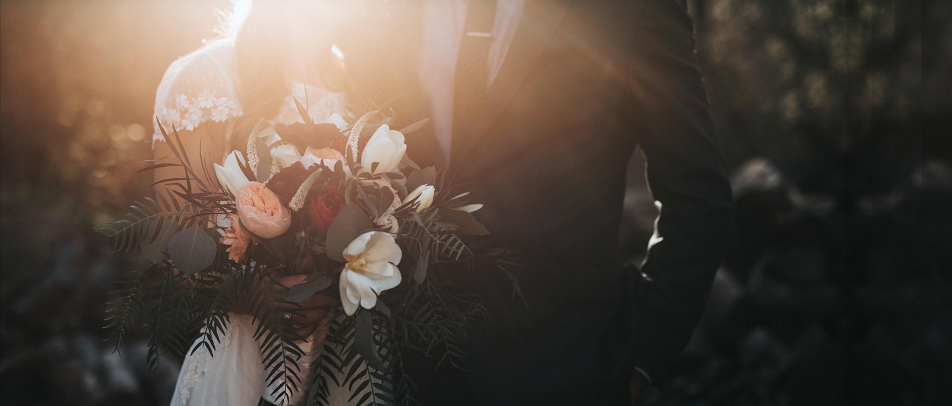 Marriage - wedding photo in dusty sunlight