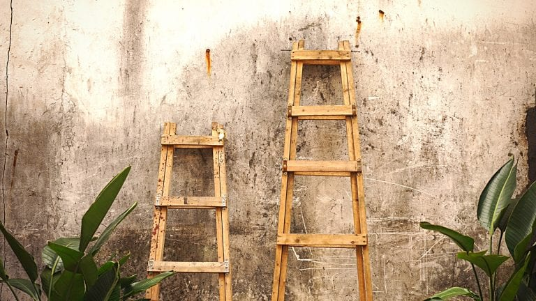Is the Man of God closer to God than me? Two step ladders against a wall - one is longer