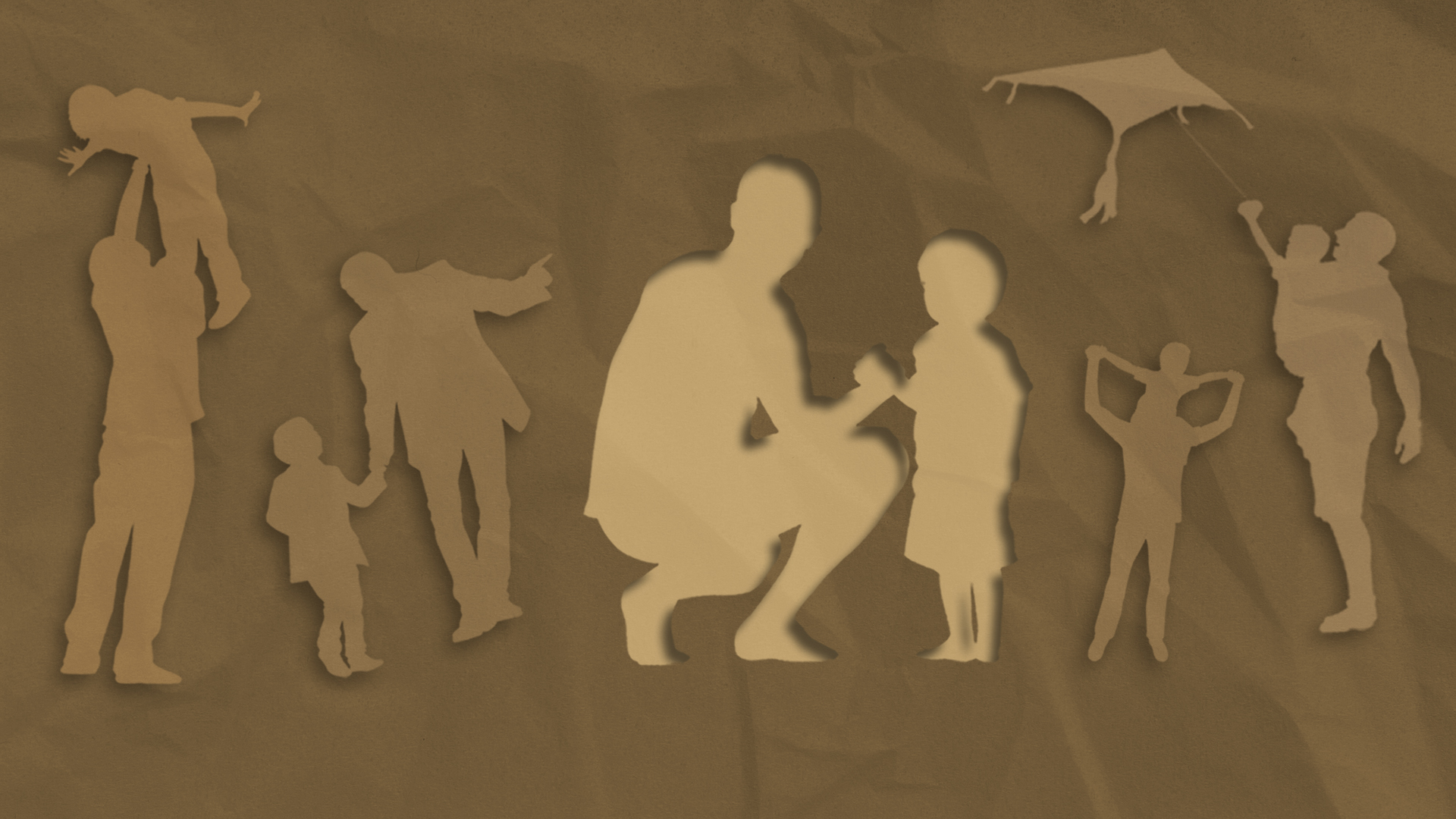 Healing Fatherhood - images of Father child activities that seem perfect on a brown paper texture