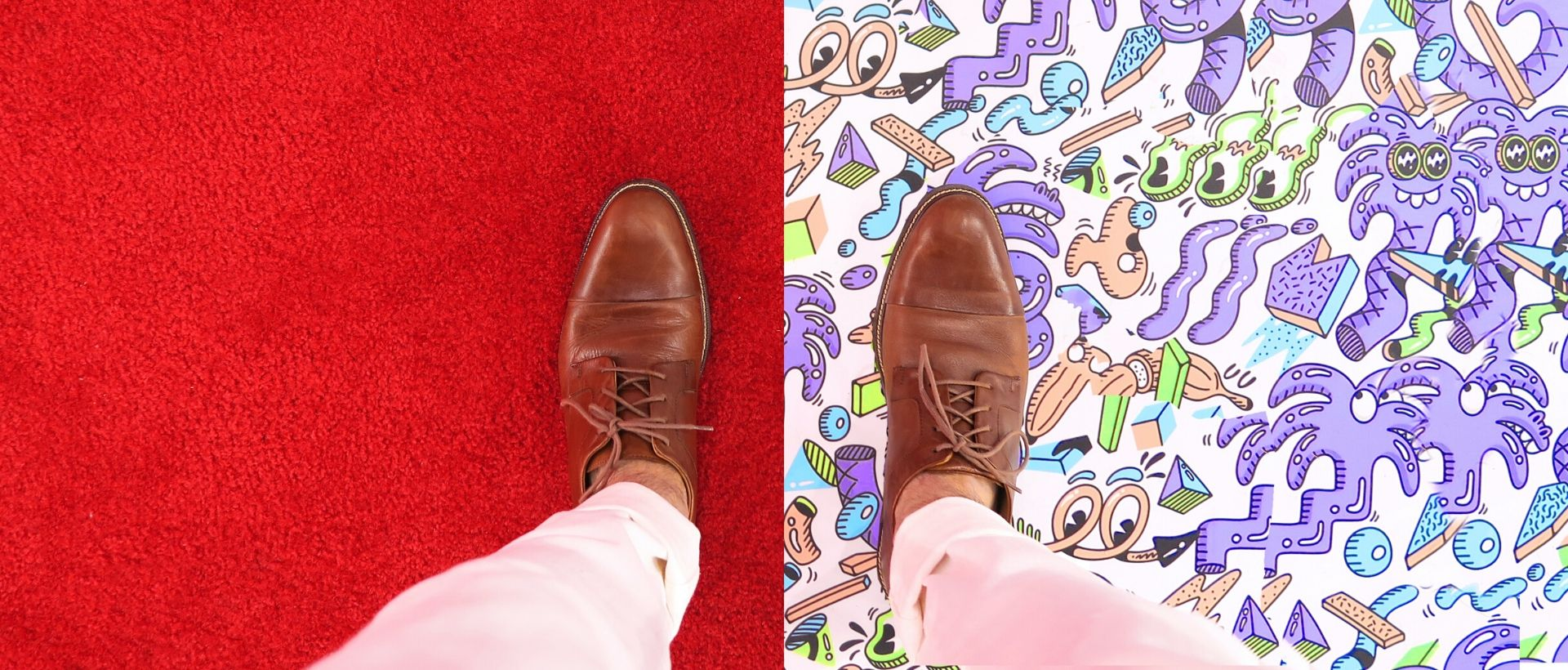 Man wearing brown shoes with one foot on red, one foot on a crazy pattern. Neither side is boring.