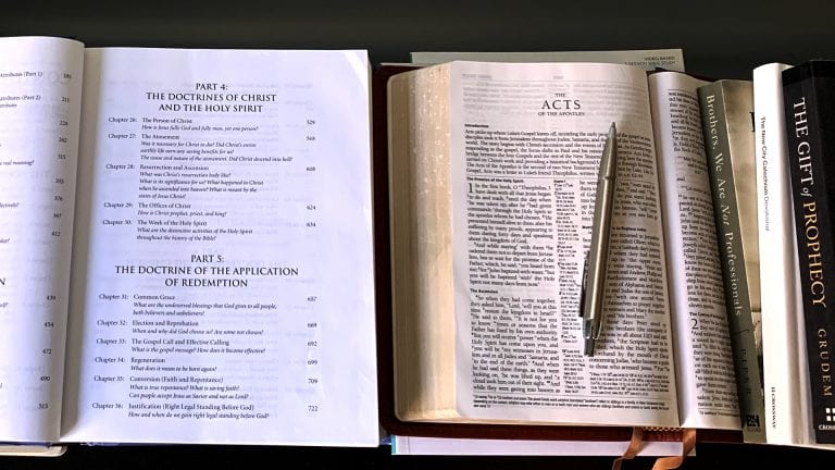 You Need Training as a Pastor: Image of book of doctrines, the bible open to Acts with a pen and stack of books