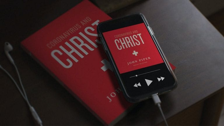 Coronavirus and Christ: Book cover on iphone and tablet screens lying in a pile