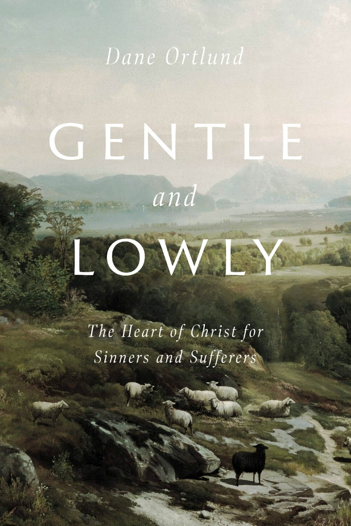 Gentle and Lowly Book Cover - background image with flock of sheep on a pastoral hillside