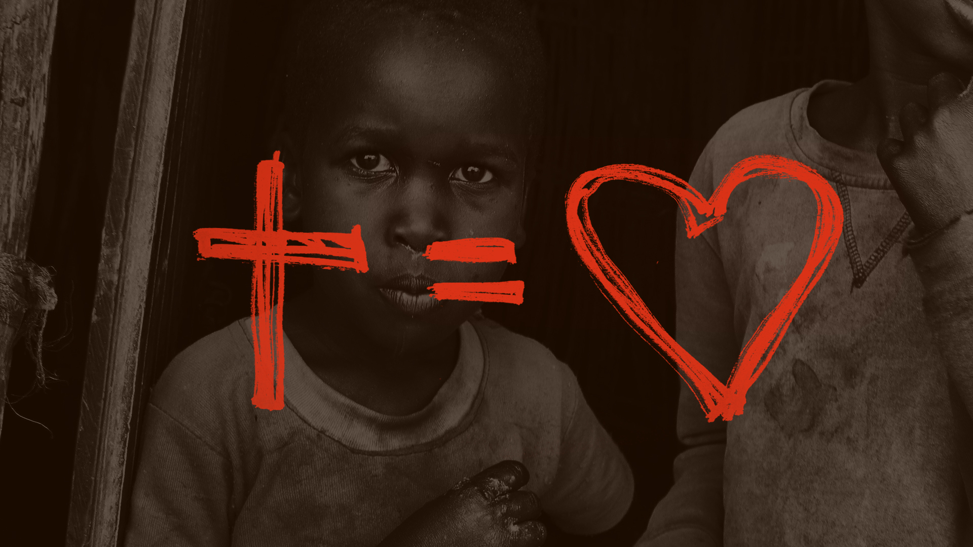 Background image: two African children in poverty - overlay drawing of Cross = Heart. Meaning through Christ we can love our neighbour and achieve a measure of social justice