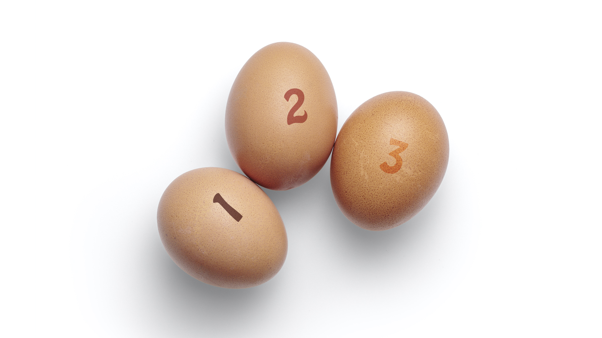 Have you counted your COVID-19 blessings? Eggs on a white background numbered 1,2,3