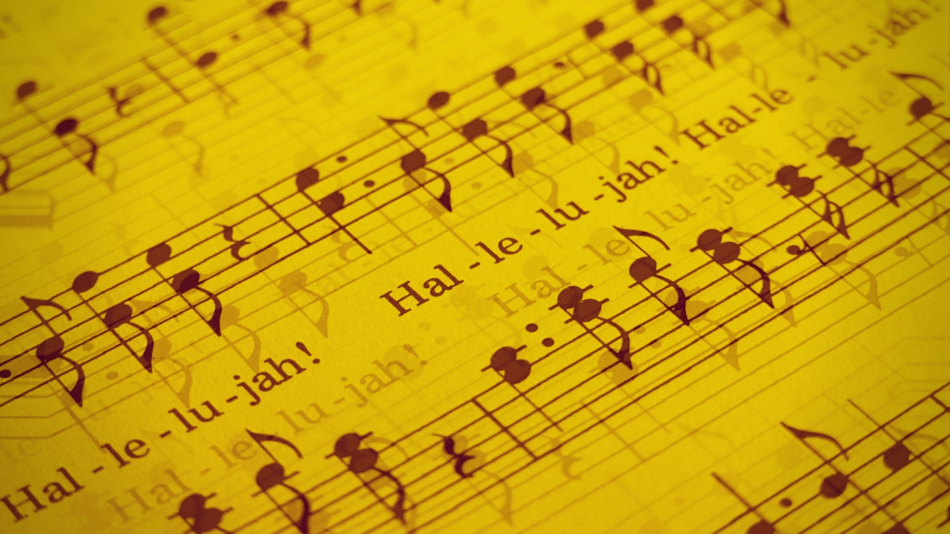 Hallelujah - lyrics and notes on a manuscript in yellow