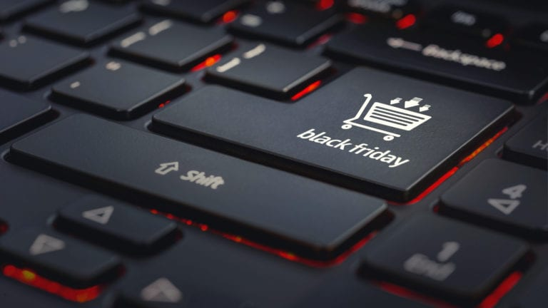 Black Friday as the enter key on a black computer keyboard