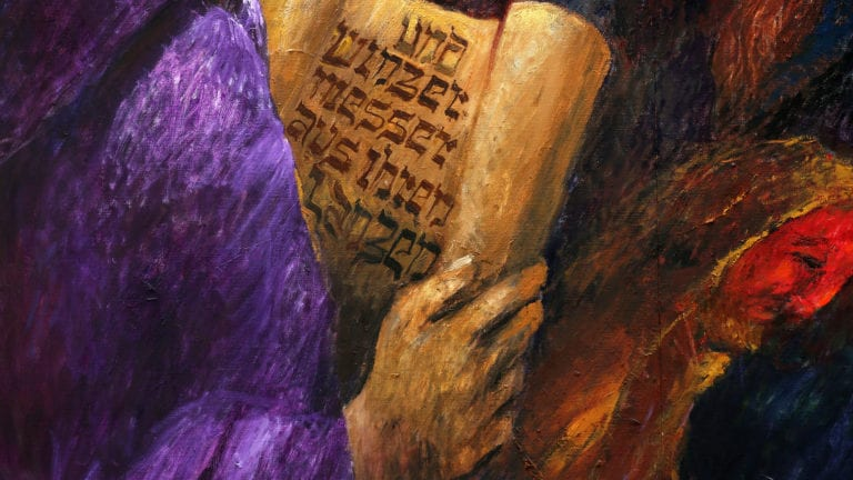 Thank God For The Old Testament - painting of Hebrew scroll being unrolled