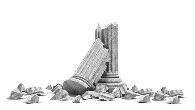 Moral failure - a white column broken and fallen down