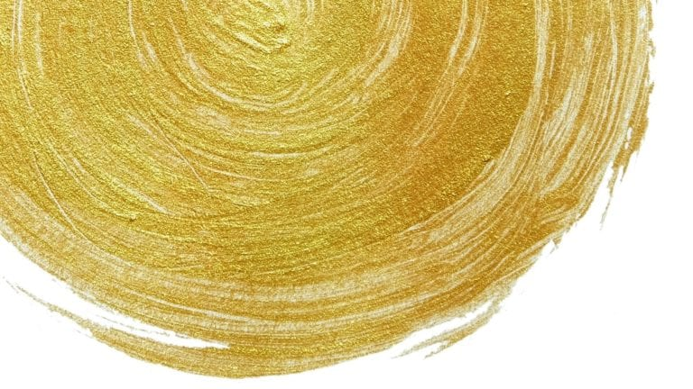 God the Father Almighty - Golden paint circle powerfully painted on a white background
