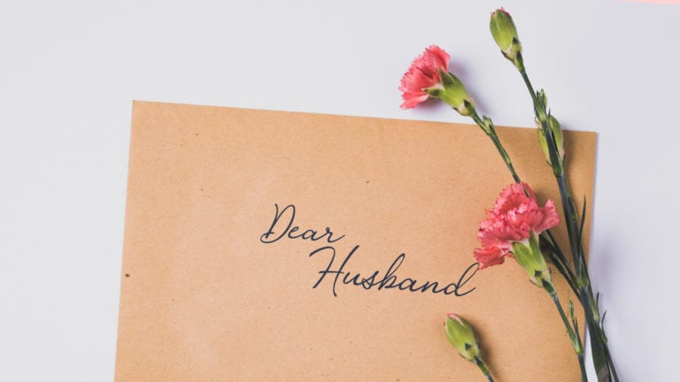 Dear Husband... a letter about FGC with carnations on it -