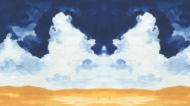 I Believe in Jesus' Ascension - painted desert and clouds with a figure rising between them