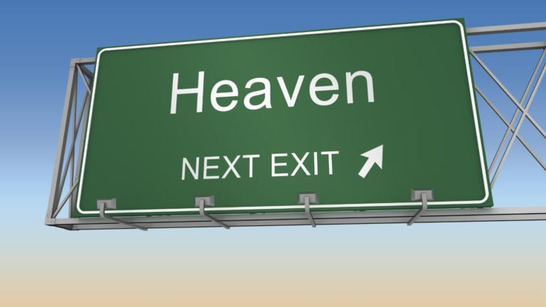What is Heaven? A road sign pointing to heaven, next exit