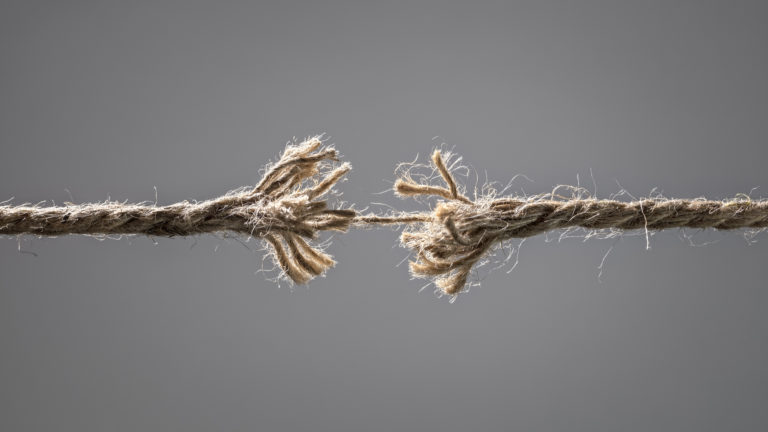 Family Relationships - A rope holding together by a single piece of string