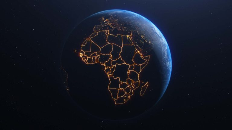 Global Missions - Planet earth with the continent of Africa lit up.